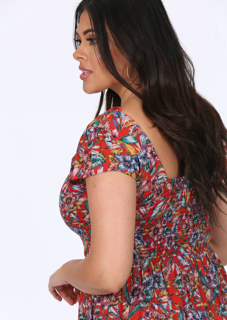 Pink Clove Red Floral Dress view 4