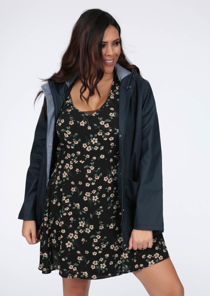 Plus Makenna Rubber Hooded Rain Mac in Navy