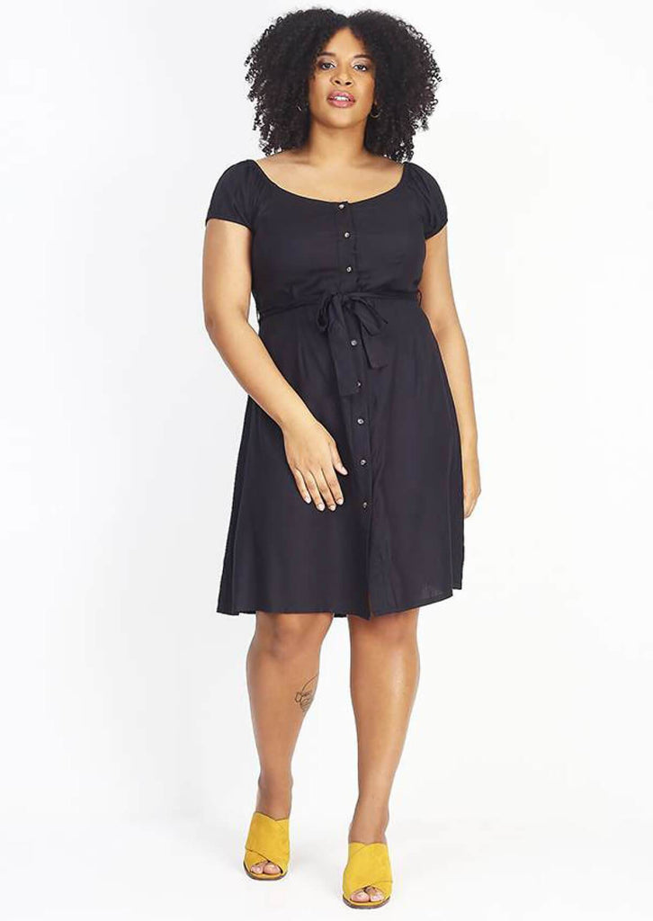 Pink Clove Black Button Through Midi Dress