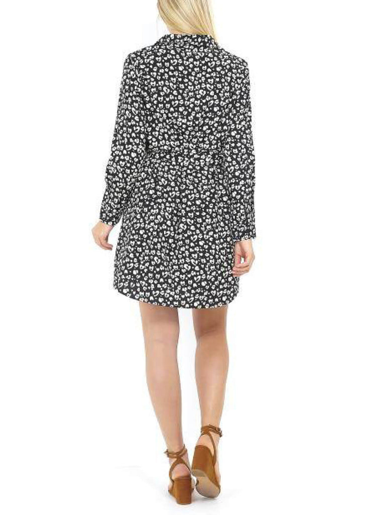 Pink Clove  Black/White Leopard Print Tie Front Shirt Dress view 2