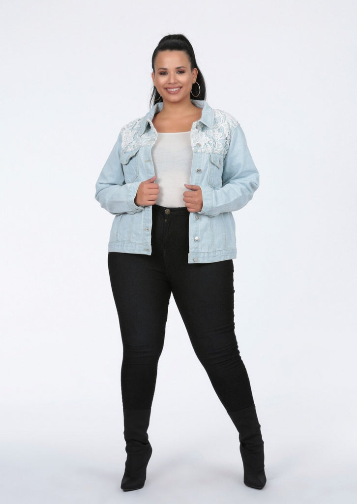 Plus Size Crochet Trim Bleached Denim Jacket view 2