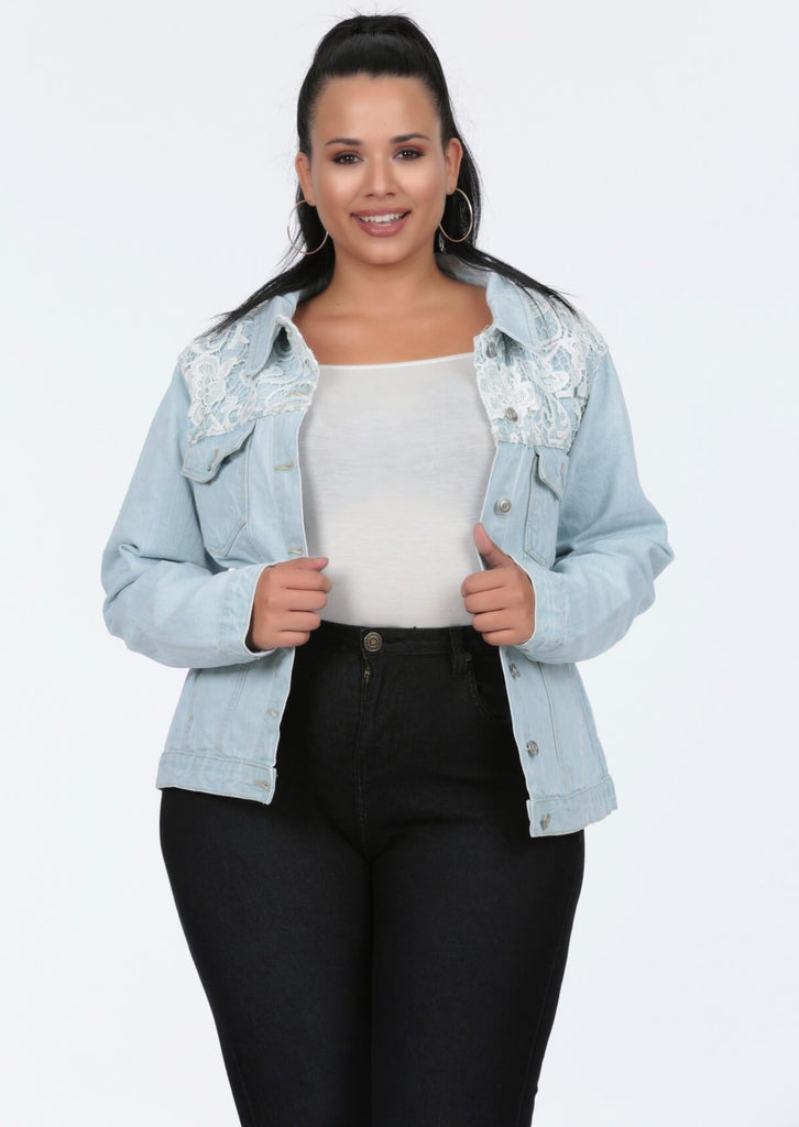 Plus Size Crochet Trim Bleached Denim Jacket view 3