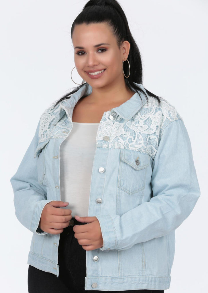 Plus Size Crochet Trim Bleached Denim Jacket
