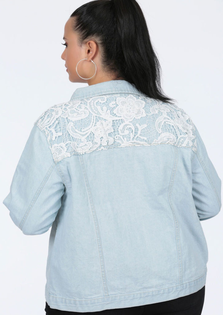 Plus Size Crochet Trim Bleached Denim Jacket view 4