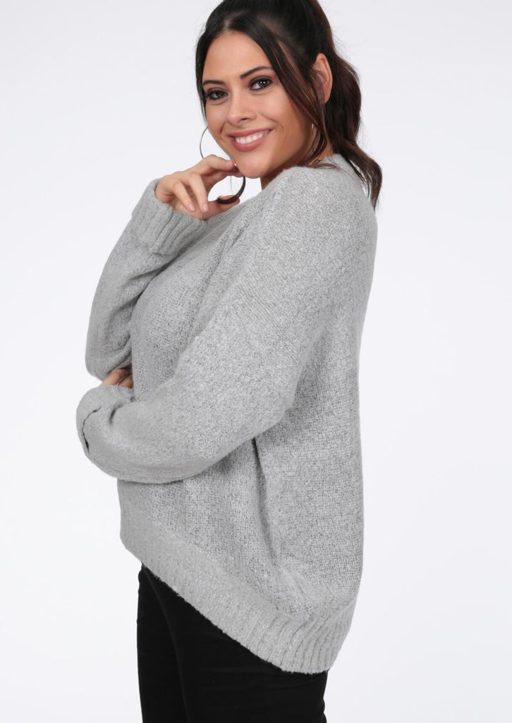 Plus Nena Supersoft Turn Up Cuff Grey Jumper view 4