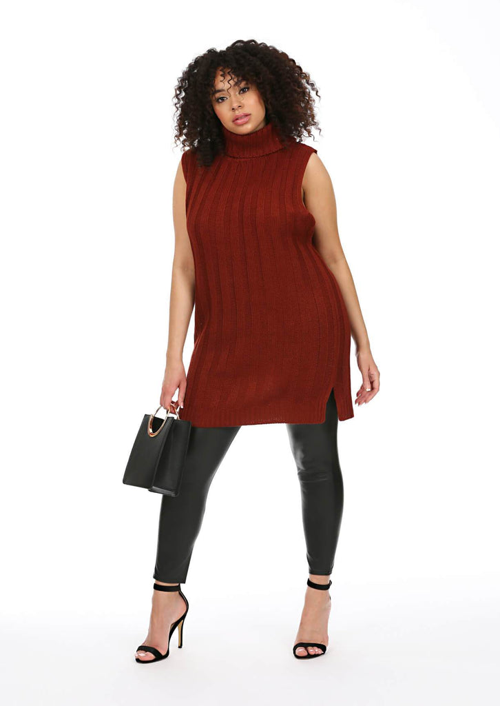 Plus Size Sleeveless Jumper Dress in Red view 2