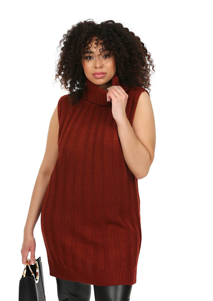 Plus Size Sleeveless Jumper Dress in Red