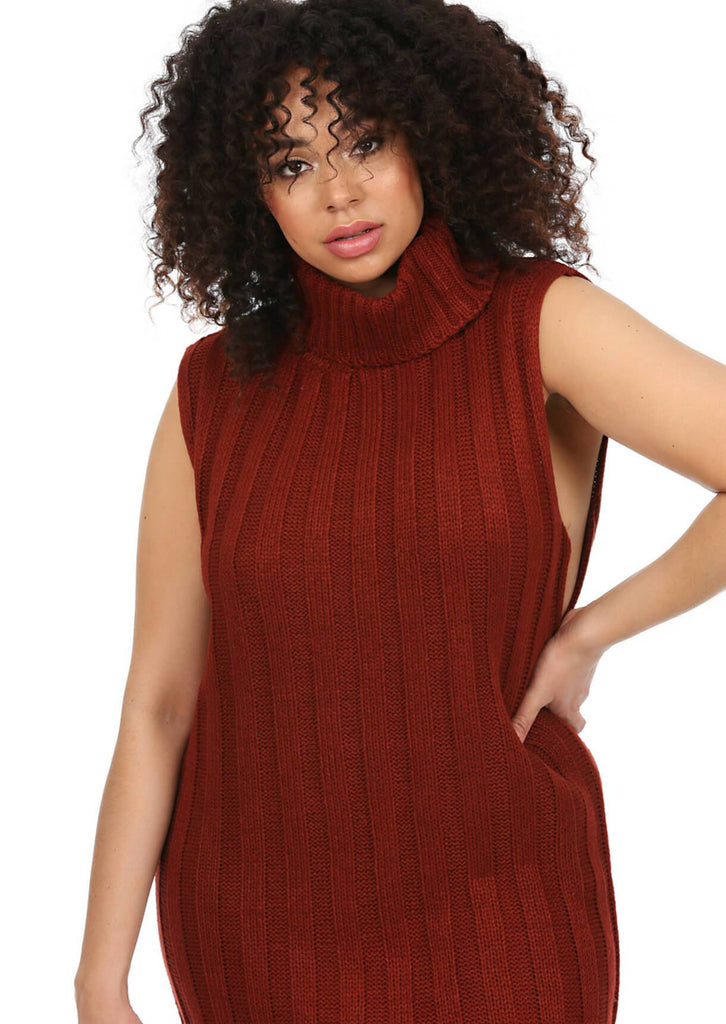 Plus Size Sleeveless Jumper Dress in Red view 3