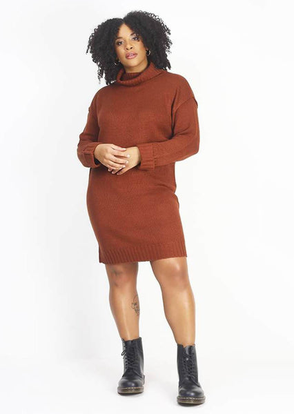 Pink Clove  Rust Roll Neck Ribbed Jumper Dress