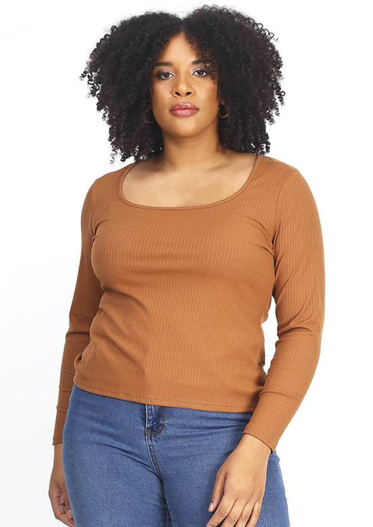 Pink Clove Camel Ribbed Stretch Long Sleeve Top
