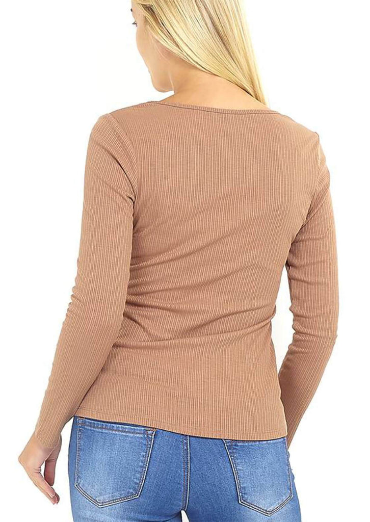 Pink Clove Camel Ribbed Stretch Long Sleeve Top view 2