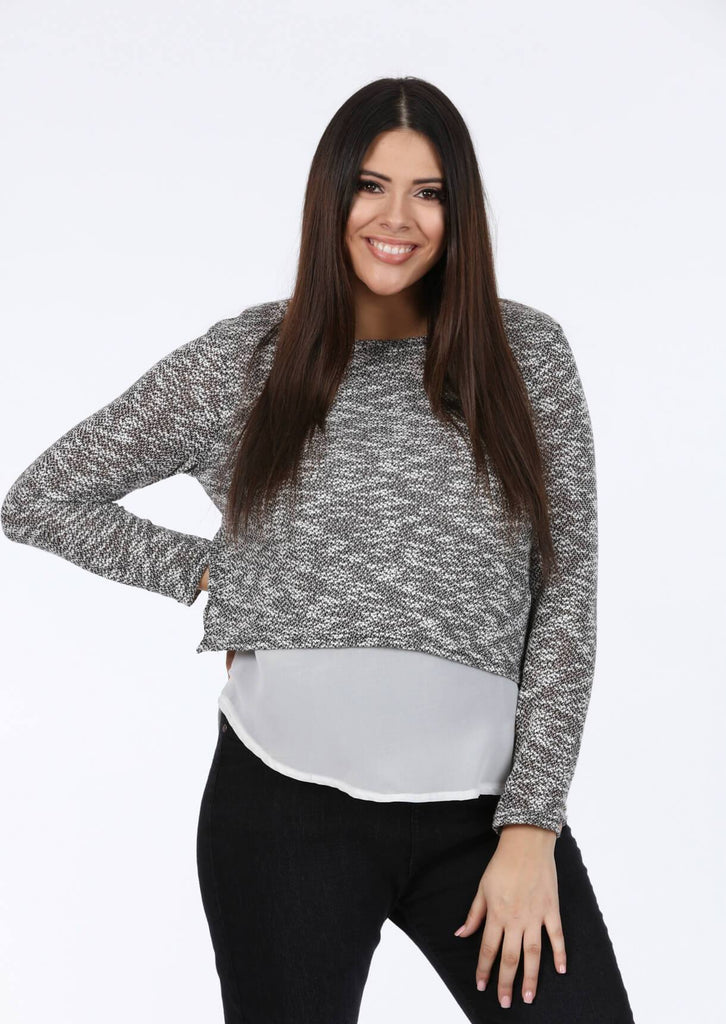 Pink Clove Long Sleeve Top in Grey and White