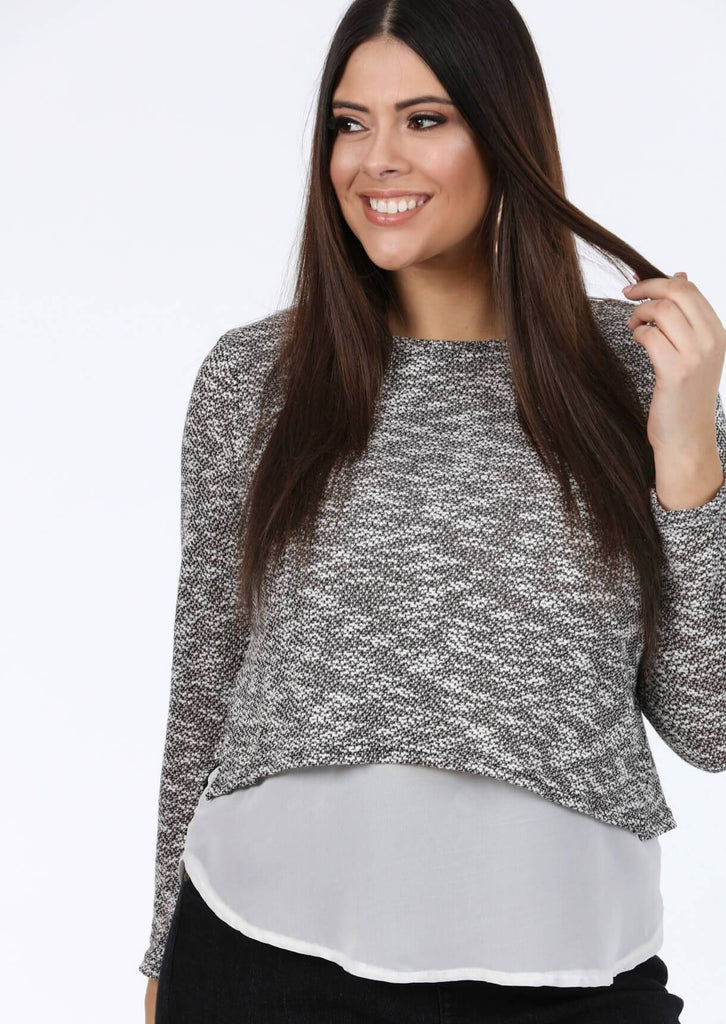 Pink Clove Long Sleeve Top in Grey and White view 2