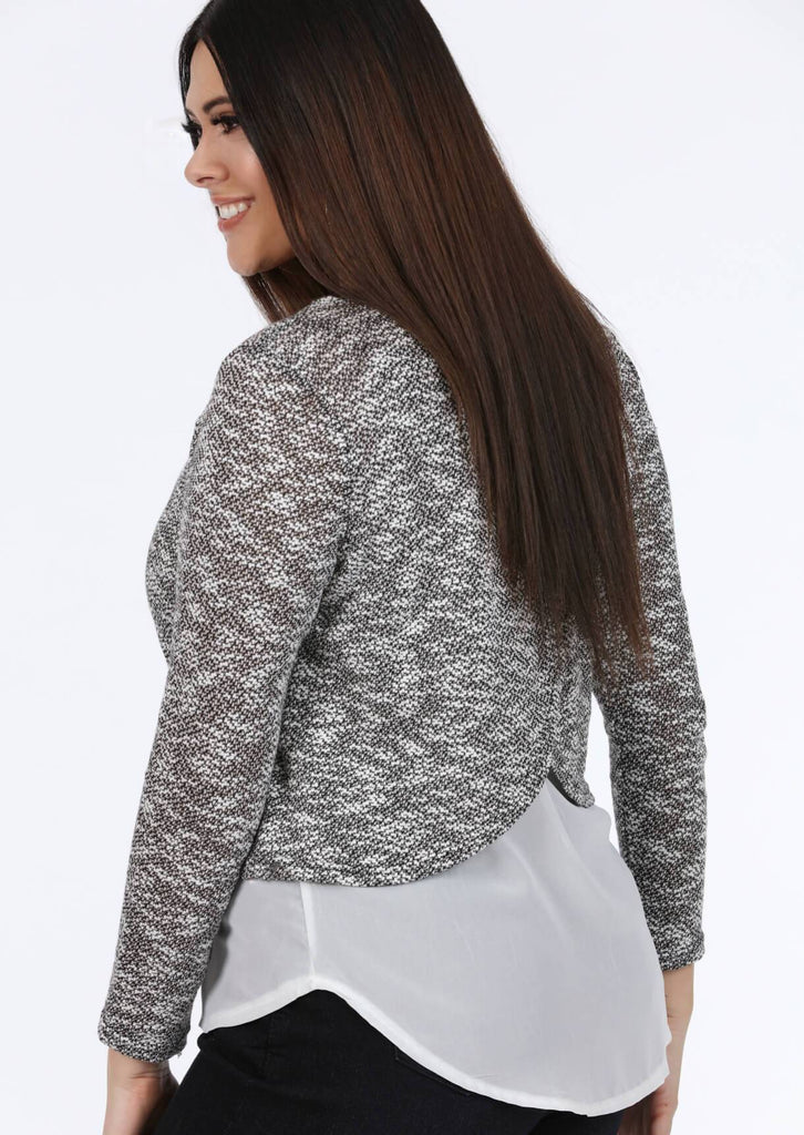 Pink Clove Long Sleeve Top in Grey and White view 3