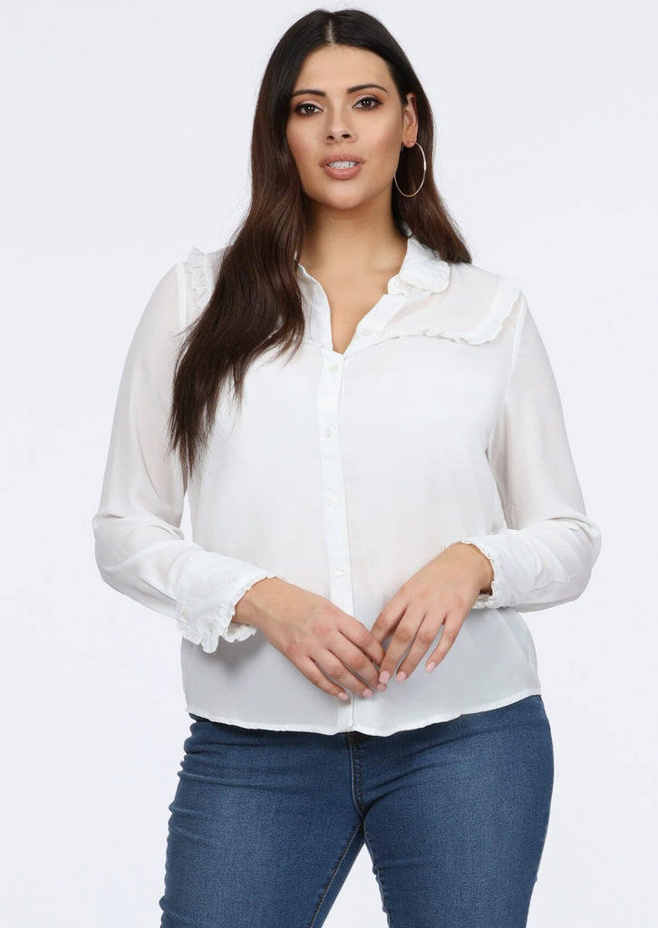 Plus Gin Frill Detail Cream Blouse Top view 3