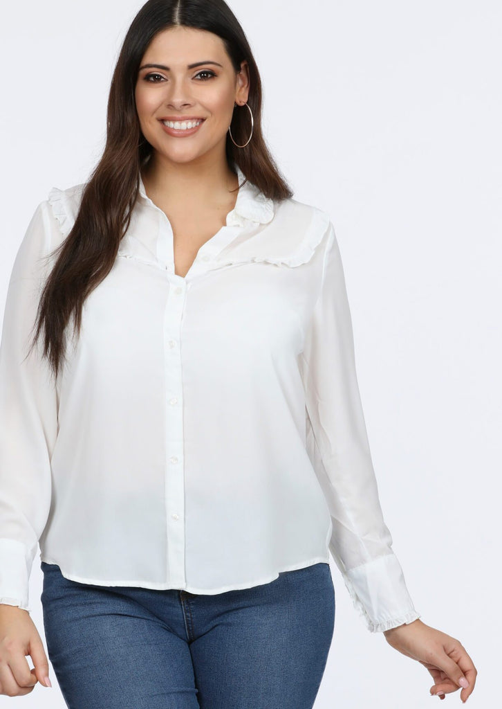 Plus Gin Frill Detail Cream Blouse Top