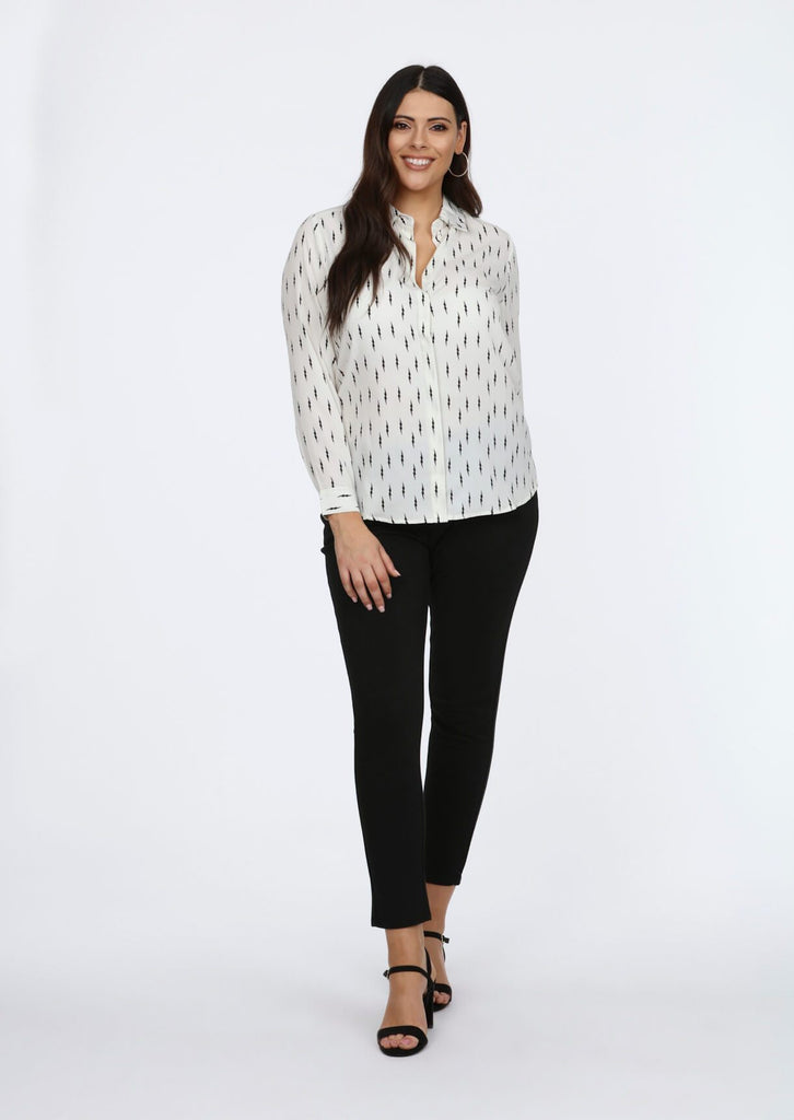 Plus Size Flash All Over Printed Shirt in Ecru view 3