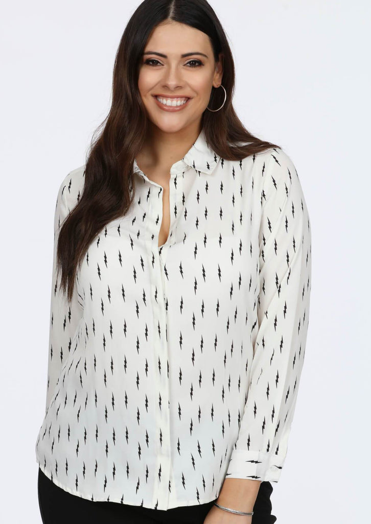 Plus Size Flash All Over Printed Shirt in Ecru