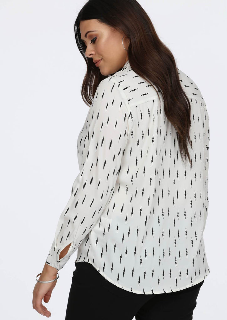 Plus Size Flash All Over Printed Shirt in Ecru view 2