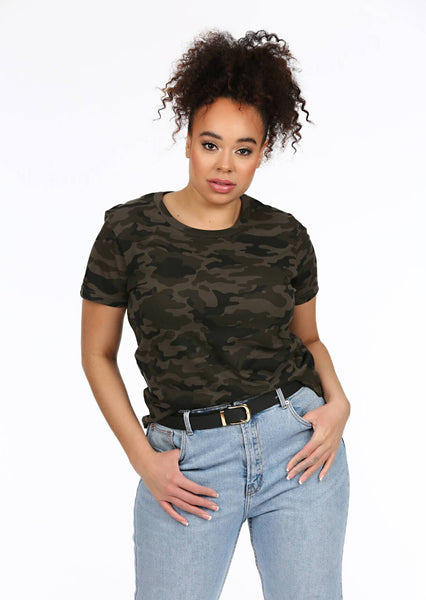 0652938807 plus size green camo crew neck t-shirt