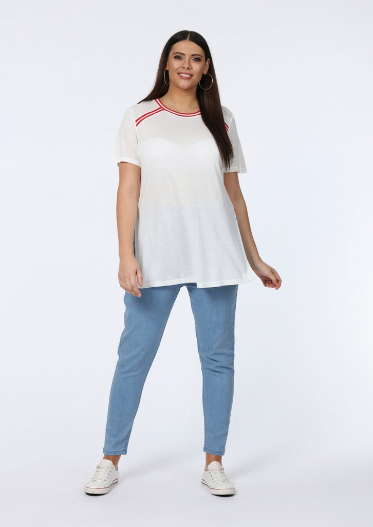 Candie White Contrast Longline Striped White T-Shirt view 2