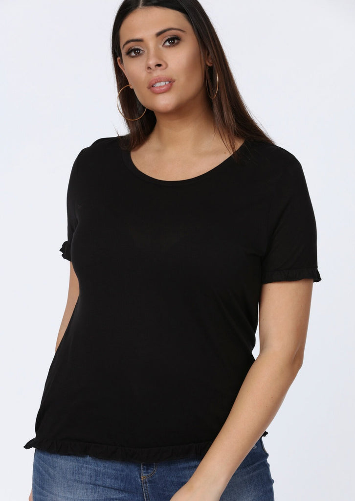 Plus Size Frill Black Hem T-Shirt view 2