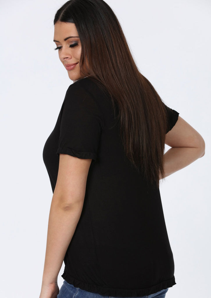 Plus Size Frill Black Hem T-Shirt