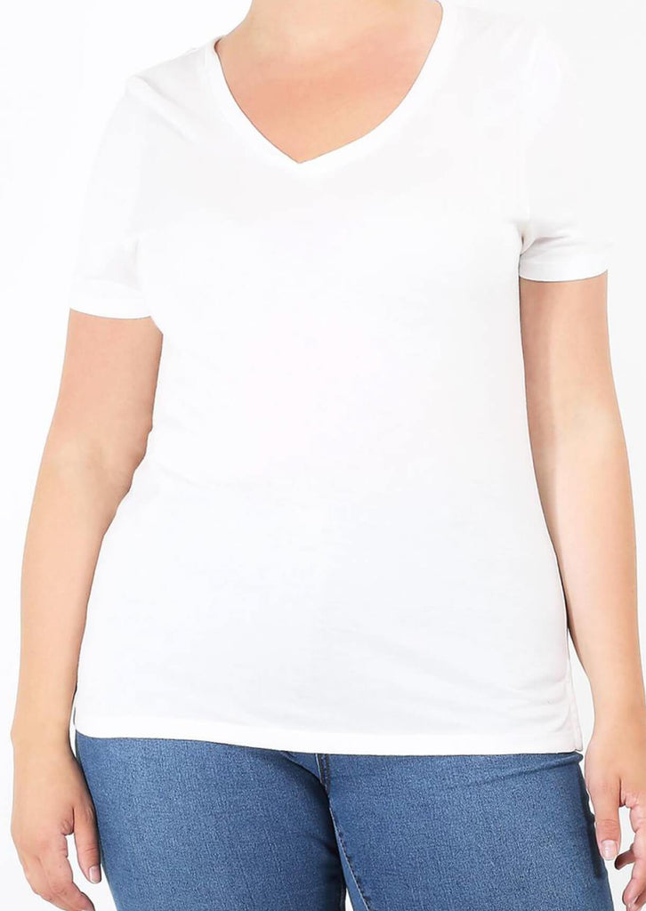 Pink Clove Cream V-Neck Short Sleeve Top view main view