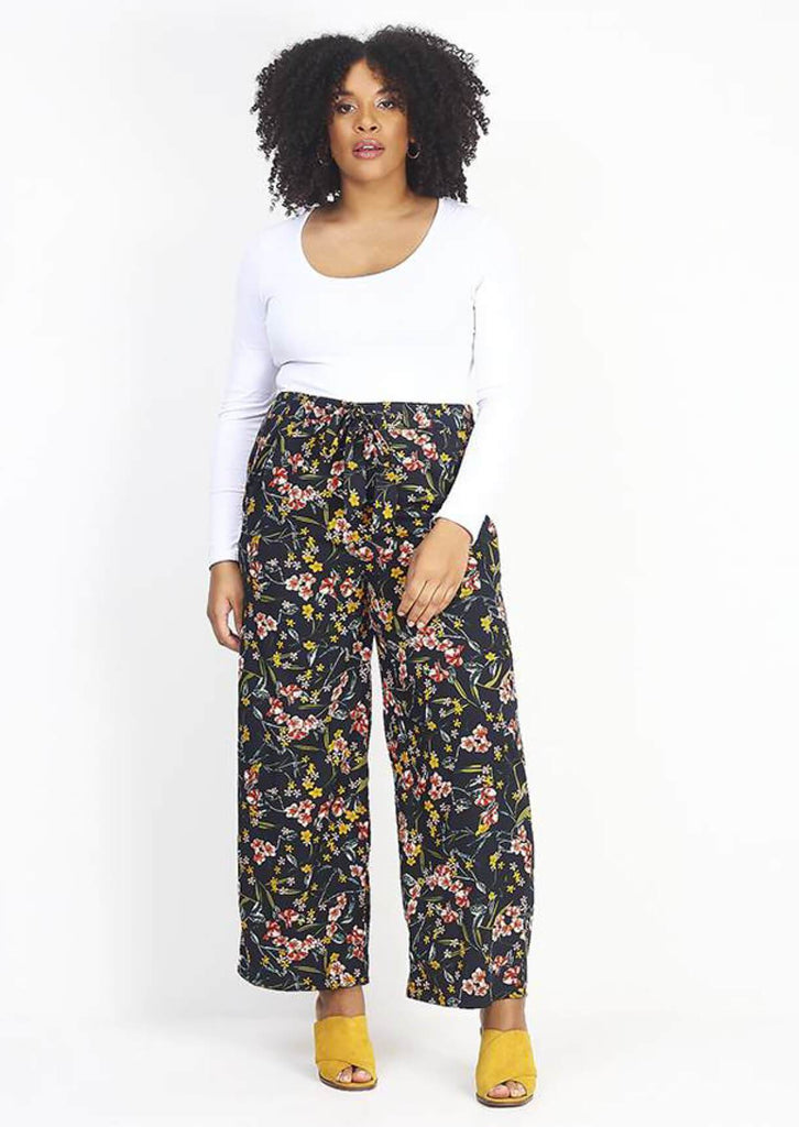 Pink Clove  Wide Leg Floral Print  Trousers view main view