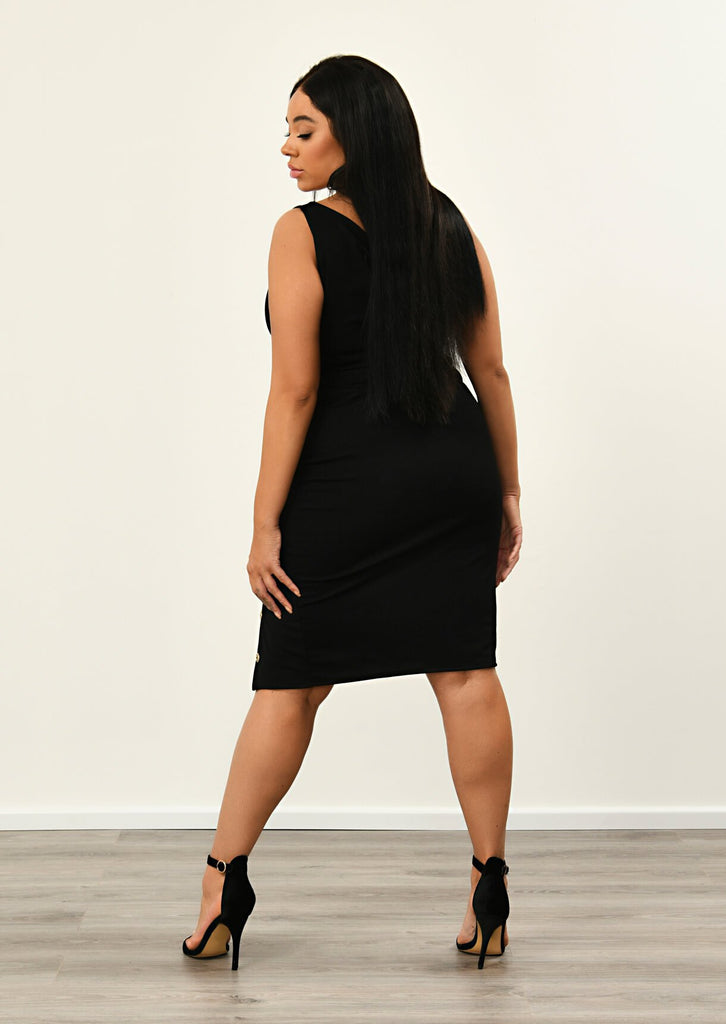 Plus Size Black Split Skirt With Side Button Detail view 2