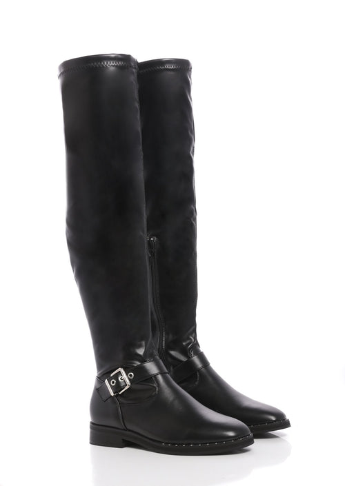 No Doubt Black PU Over The Knee Flat Boots in Black