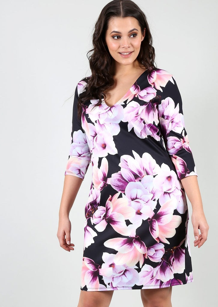 Plus Size Size Floral Bodycon Dress