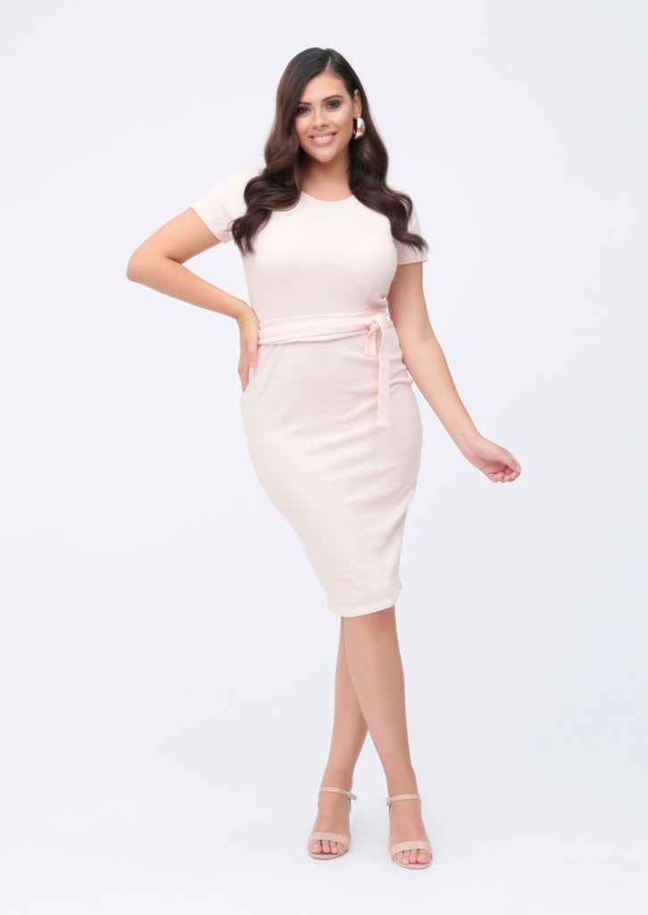 Plus Brogan Tie Waist Dress in Blush