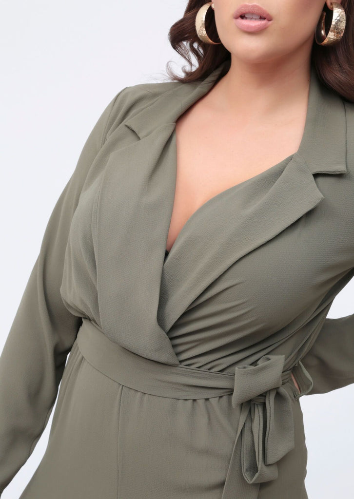 Plus Mila Khaki Lapel Wrap Belted Jumpsuit view 4