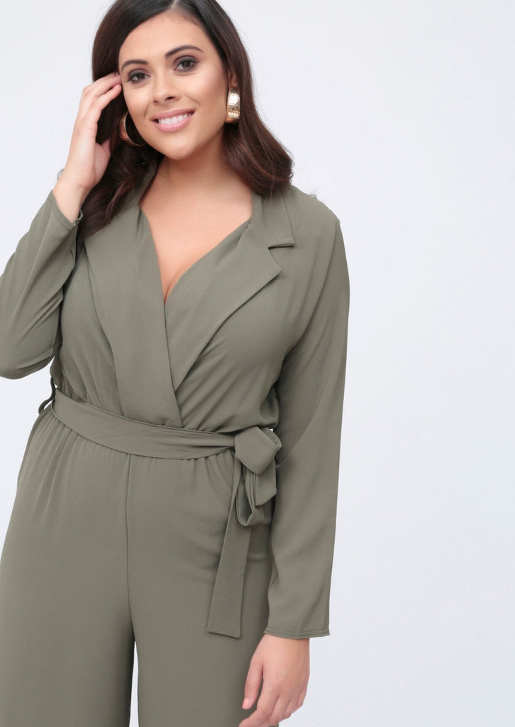 Plus Mila Khaki Lapel Wrap Belted Jumpsuit view 2