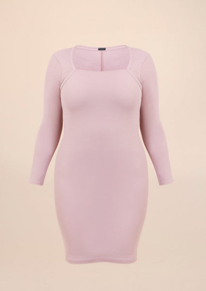 Plus Size Square Neck Long Sleeve Rose Bodycon Dress