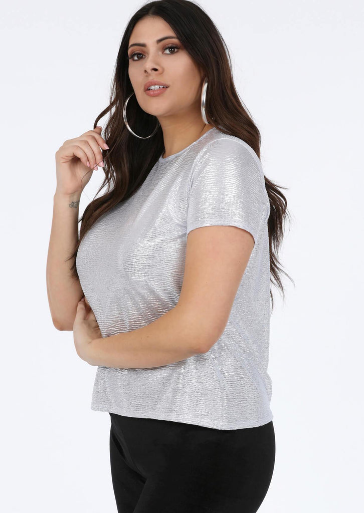 Pink Clove Silver Round Neck Metallic Top view main view