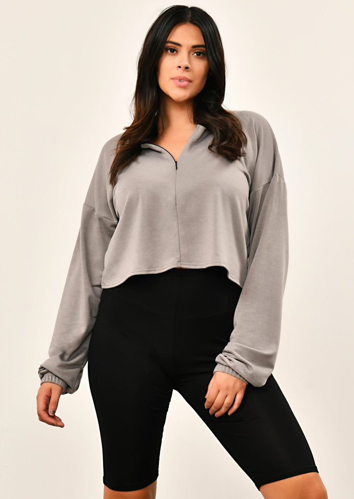 Grey Zip Front Sweat Top 1