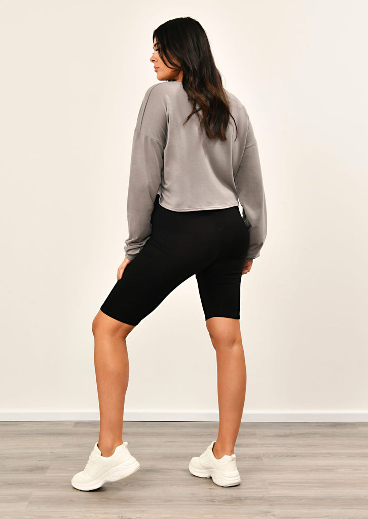 Grey Zip Front Sweat Top 2 view 2