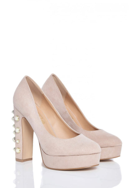 Pink Clove Pearl Nude Block Heel Wedge Shoes