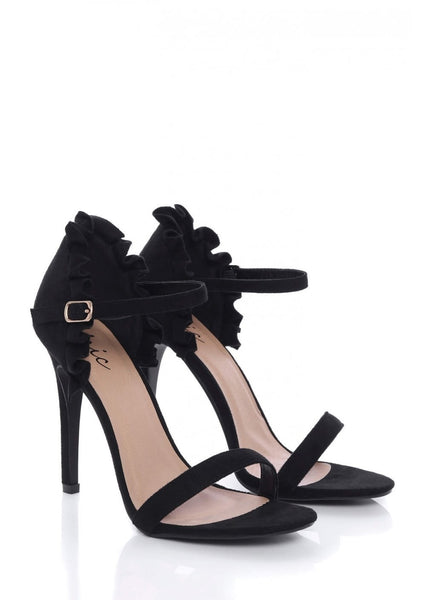 Black Stiletto Heels with Ruffle Back