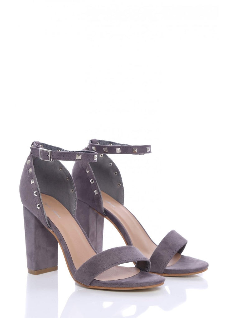 Pink Clove Grey Suede Ankle Strap Chunky Heels
