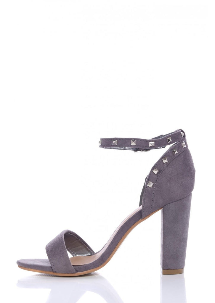 Pink Clove Grey Suede Ankle Strap Chunky Heels view 2