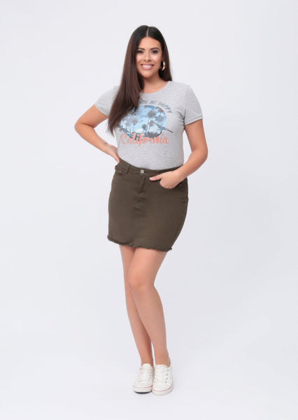 Plus Size Denim Khaki Mini Skirt