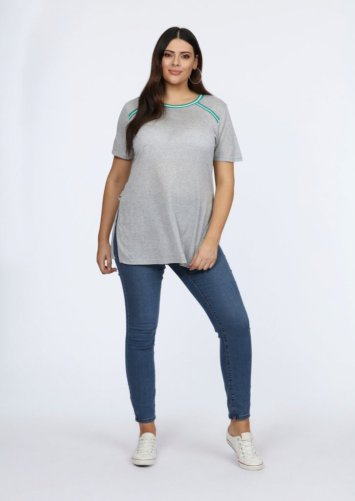 Plus Size Contrast Stripe Grey Longline T-Shirt