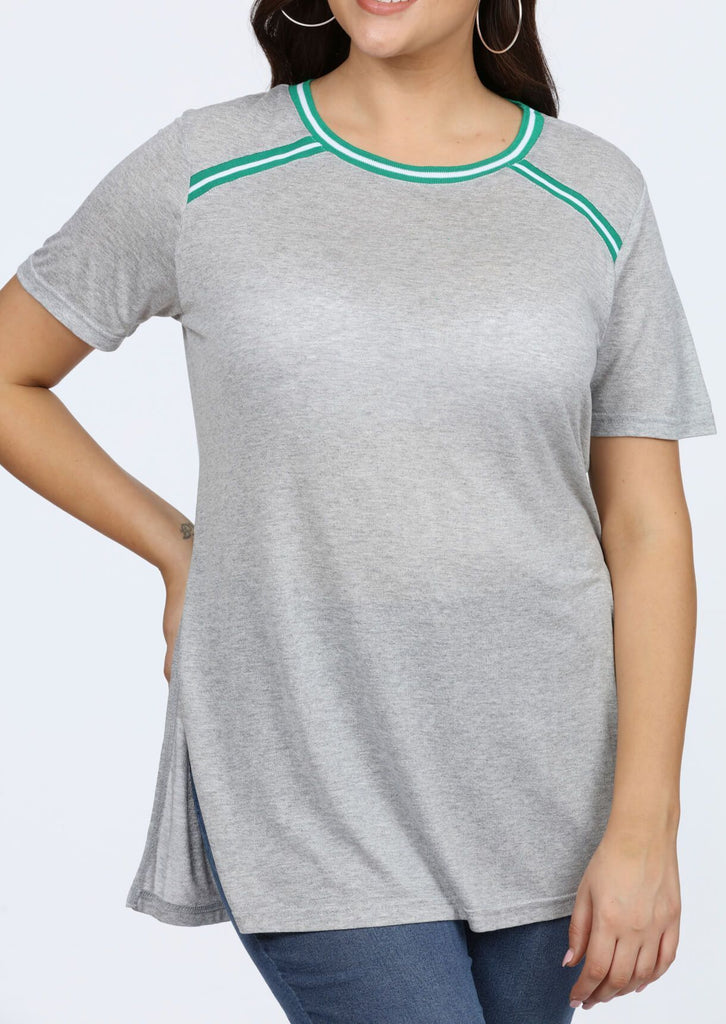 Plus Size Contrast Stripe Grey Longline T-Shirt view 3