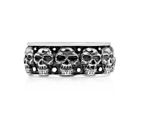 Steel Skull Heads Ring