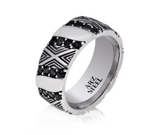 ARZ Steel Black Stone Ring AS-R64