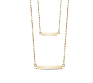 Double Bar Necklace With C.Z Stones