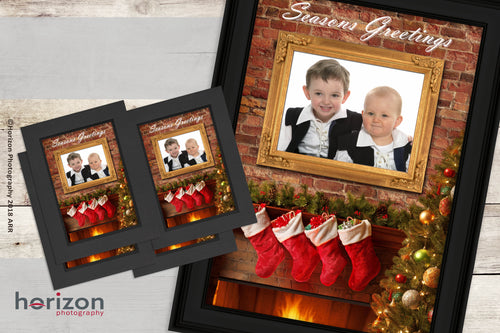 Christmas Fireplace 12x8 Framed Print + 4 PHOTO-CARDS FREE!